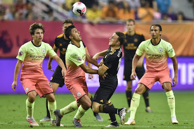 English Premier League Champions Manchester City Played Out A Full-time Scoreline With Wolverhampton Wanderers In A Pre Season Competition For The Premier League Asia Trophy Before Going On To Lose 3-2 In Penalty Shoot Out Against Wolves.