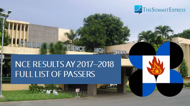 Passers List: PSHS NCE results for AY 2017-2018 out