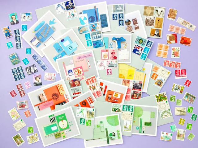 colourful notecards and coordinating rainbow postage stamps