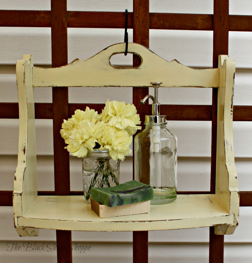 Cottage style shelf painted in Cream chalk paint.