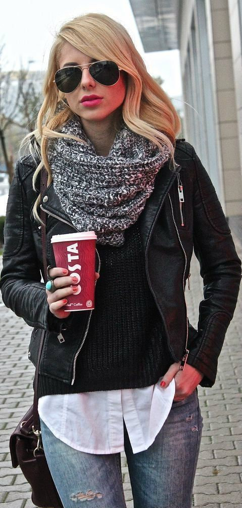 what to wear with a leather jacket : knit scarf + black sweater + white shirt + jeans + bag