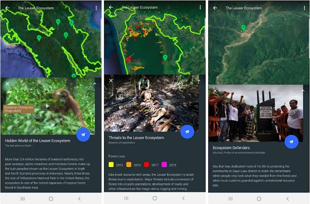 Drei Screenshots von Google Earth, die die Bedrohungen für das Leuser-Ökosystem aufzeigen