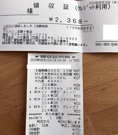 ジャパン 京都十条店 2019/6/19 のレシート