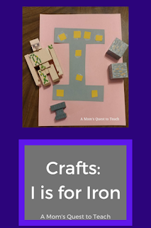 Text: I is for Iron A Mom's Quest to Teach; letter I craft with toy Iron Golem and Minecraft iron ore blocks