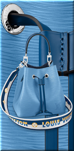 Louis Vuitton NéoNoé BB bucket bag in bleuet blue with embroidered Jacquard strap #bags #louisvuitton #brilliantluxury