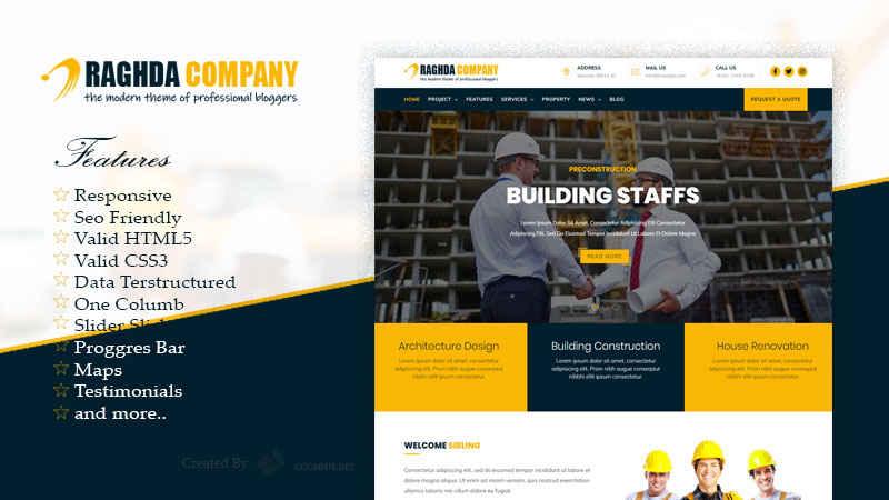 Raghda Company Profile Responsive Blogger Template