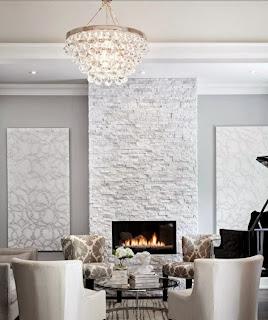 Sala decorada paredes piedra