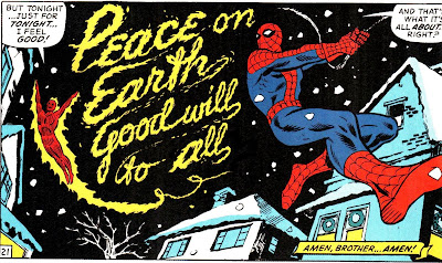 "The Human Torch writing ""Peace on Earth good will to all"" in flame while Spide-Man swings by"