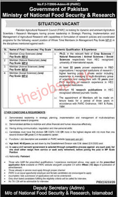 Government of Pakistan Ministry of National Food Security and Research Jobs 2021 Latest