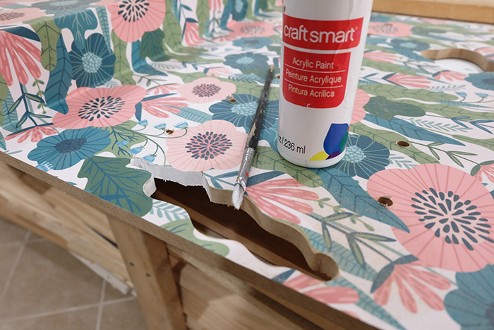 painting edges with white acrylic paint