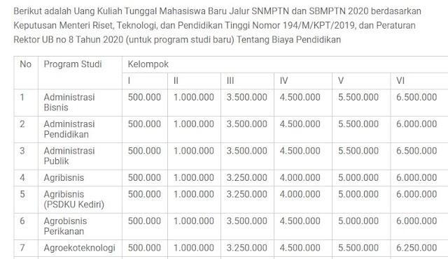 Gambaran Biaya Kuliah Jalur SNMPTN di UB dan UM 2021