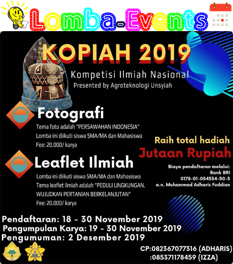 Kompetisi Ilmiah Nasional (KOPIAH) SMA Sederajat & Mahasiswa 2019 Unsyiah