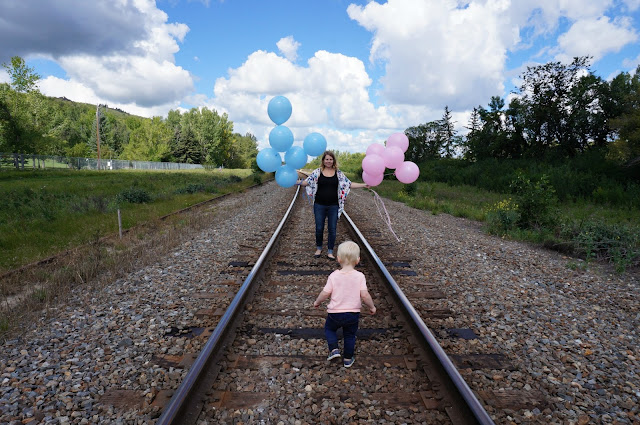 Baby Girl Gender Reveal with balloons