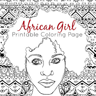 African Girl Printable Coloring Page