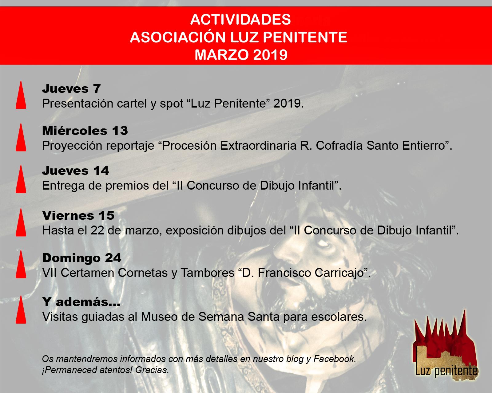 Calendario Dibujo 2019.Asociacion Luz Penitente Calendario Actividades 2019