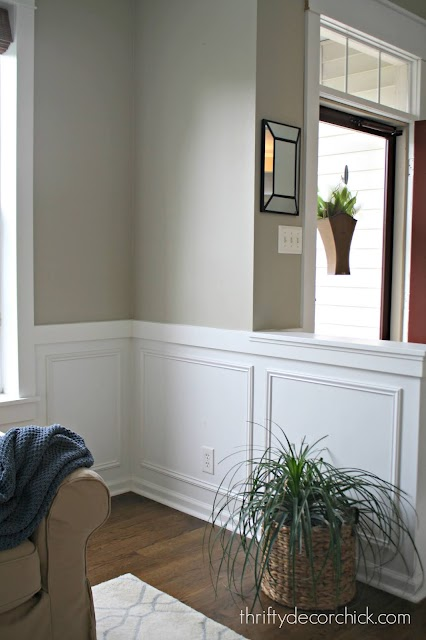 white molding boxes on lower wall