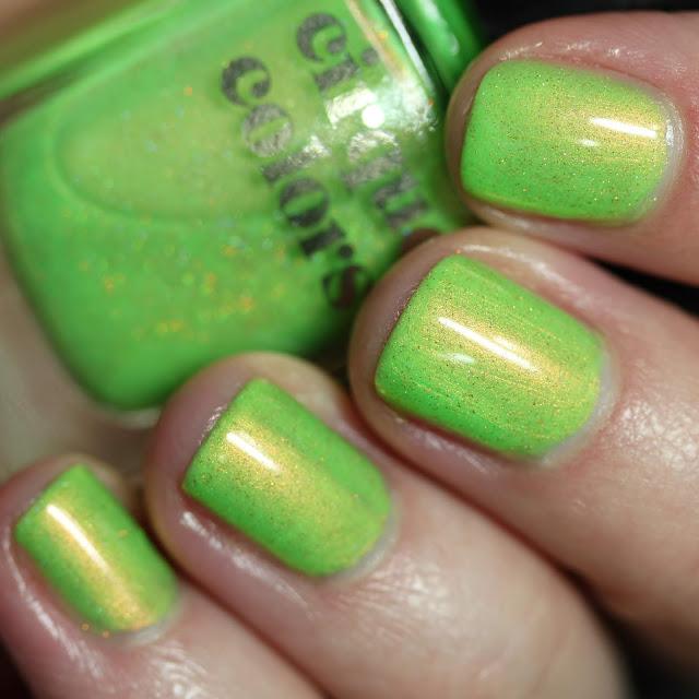 Cirque Colors High Society neon green shimmer nail polish