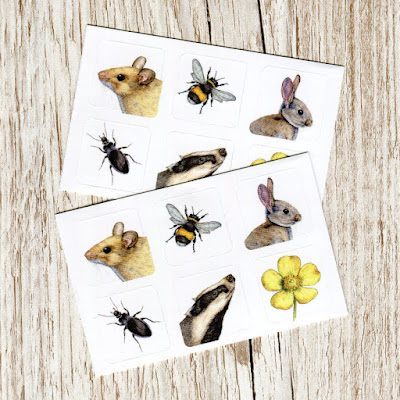 wildlife stickers rabbit, mouse and badger