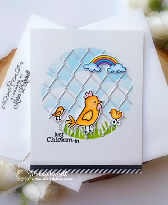 Just Chicken In Card by Maria Russell | Chicken Scratches Stamp Set, Clouds Stencil, and Hills & Grass Stencil by Newton's Nook Designs #newtonsnook #handmade