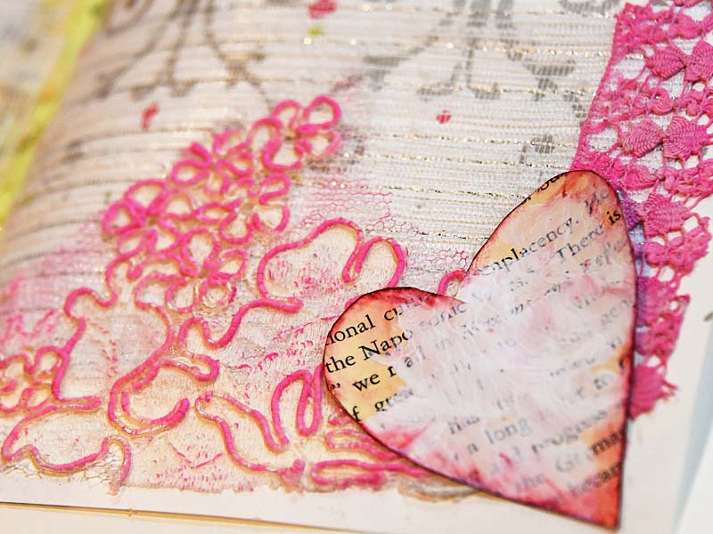 art journal lace and heart detail