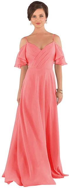 Elegant Coral Chiffon Bridesmaid Dresses