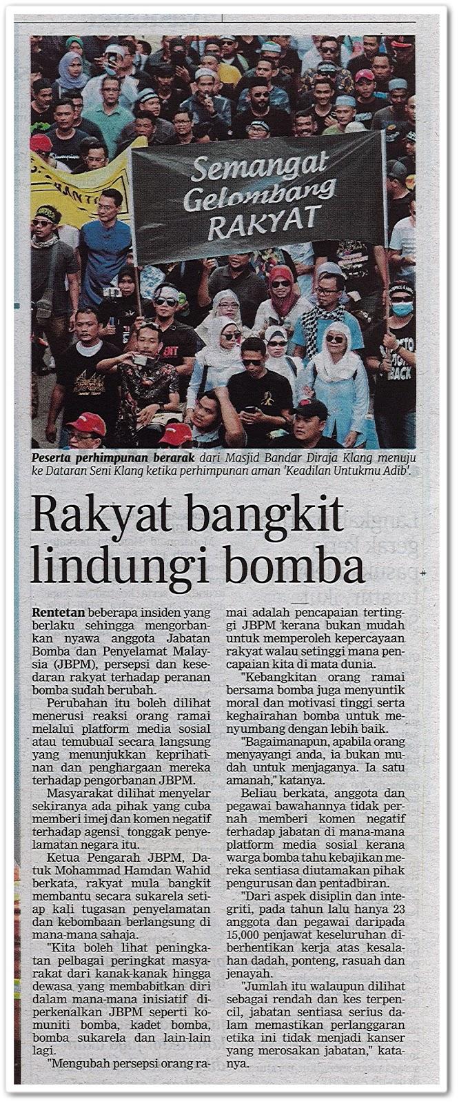 Rakyat bangkit lindungi bomba - Keratan akhbar Berita Harian 20 Julai 2019