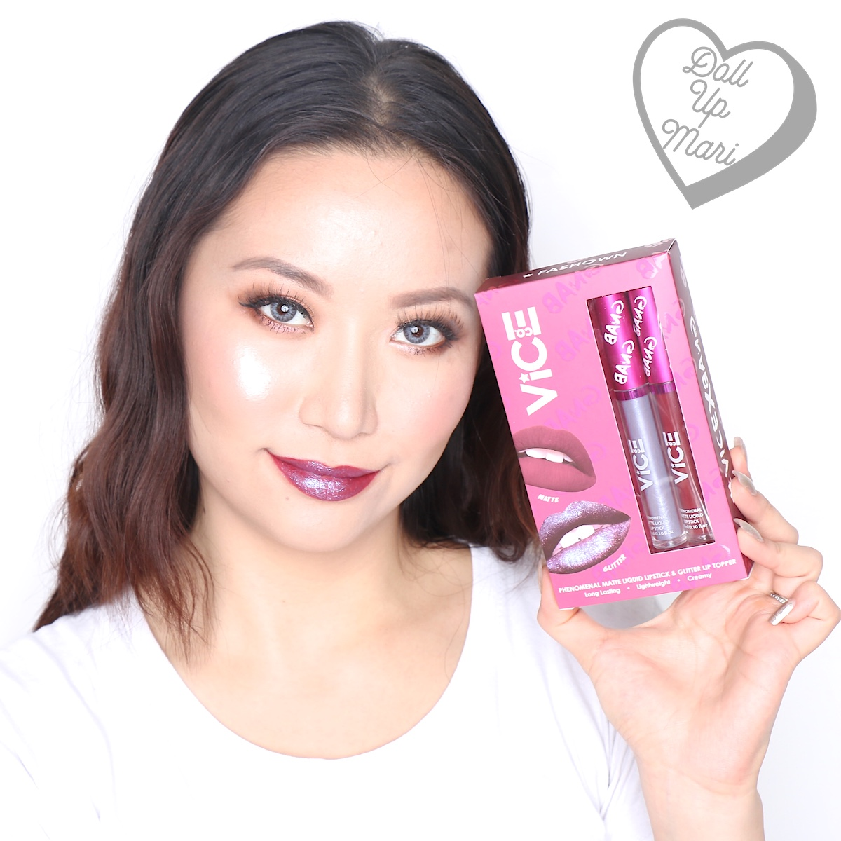 Mari wearing both matte liquid lipstick and glitter topper of the Fashown set of Vice X Bang lip set collection