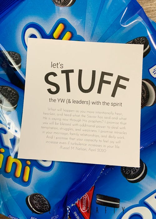 Yw Camp handouts - Stuff the YW with the spirit oreos.