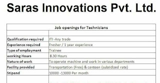 ITI all Trades Jobs Vacancy For Technician Position in Saras Innovations Pvt. Ltd. Sanand, Gujarat | Walk-In-Interview