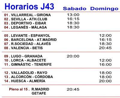 Horarios partidos de quiniela Jornada numero 43