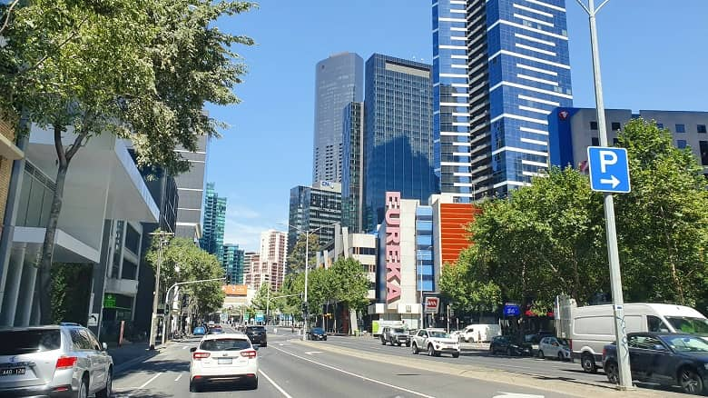 a picture of building and main street in Melbourne
