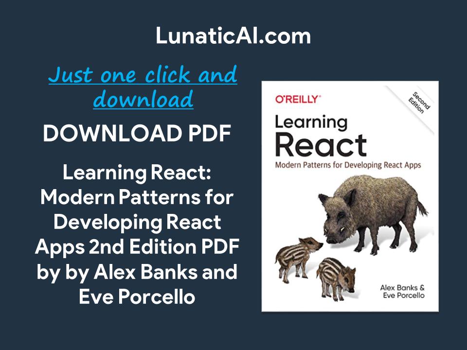 Learning React, 2nd Edition PDF GitHub