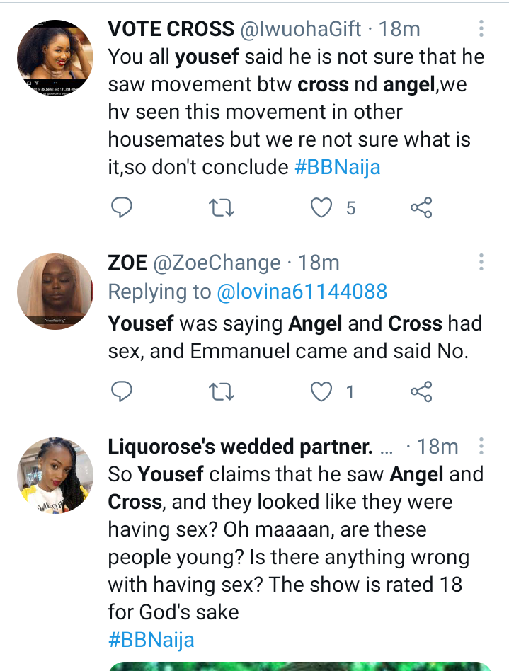 I Saw Cross and Angel knacking last night, but iy isn't confirmed - Yousef