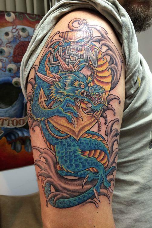 Blue Dragon Tattoo on Upper Arm