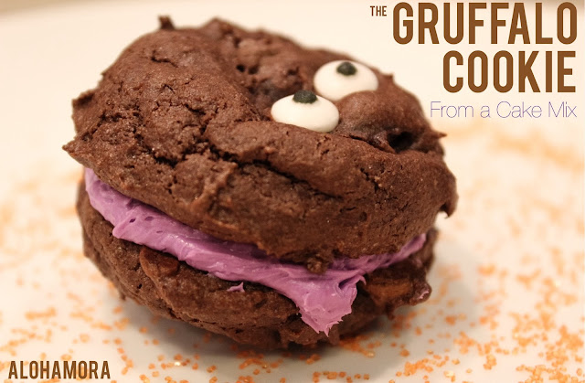 The Gruffalo Cookie, inspired by the book The Guffalo is a delicious monster cookie perfect for Halloween or anytime really.  This cookie couldn't get much easier with the use of a cake mix.  Alohamora Open a Book http://alohamoraopenabook.blogspot.com/ cookies, recipe, easy, simple, fun, book inspired food, picture book