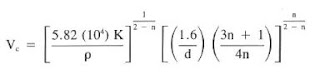 critical velocity equation for power law