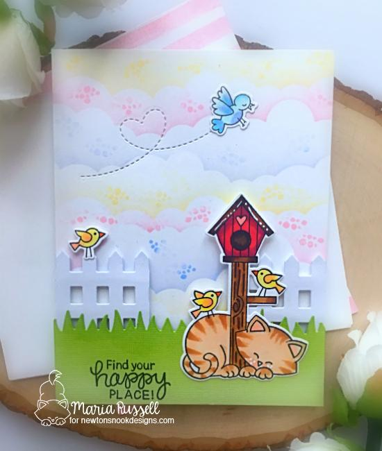 Cat and Birdhouse card by Maria Russell | Newton's Birdhouse Stamp Set, Land Borders Die Set and Fence Die by Newton's Nook Designs #newtonsnook #handmade