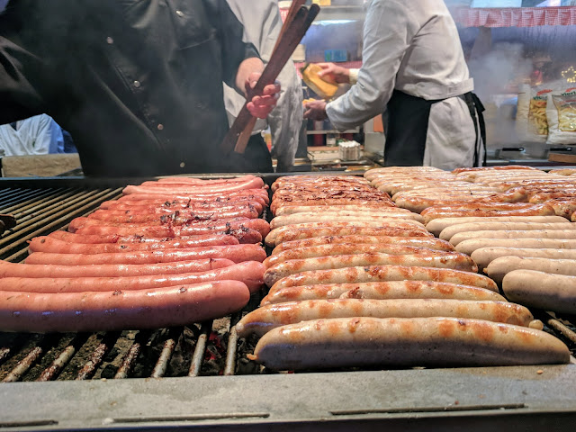 Sausages at the Münster Christmas Market in North Rhine-Westphalia Germany