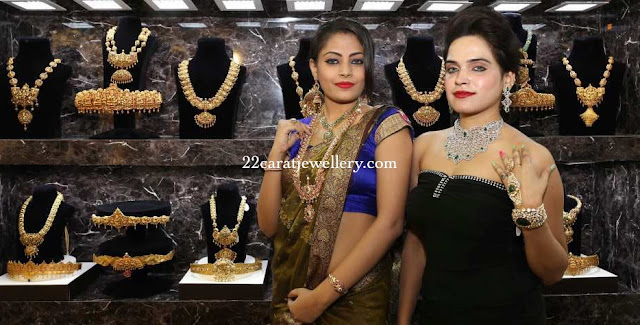 Models Showcasing Temple Jewellery
