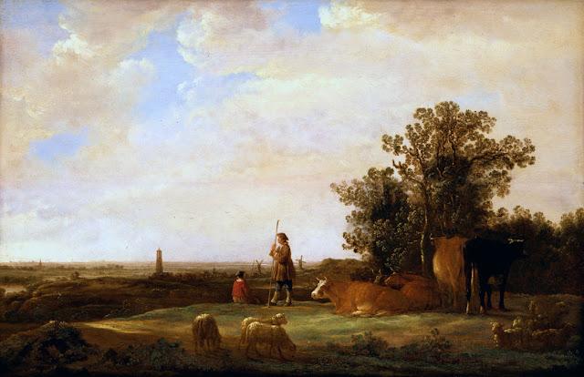 Альберт Кёйп - Панорамный пейзаж с пастухами. ок1644