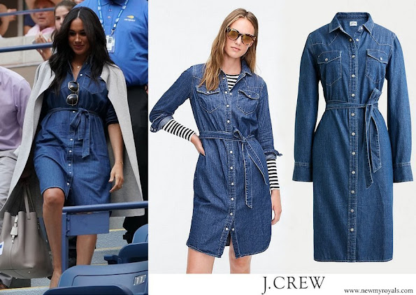 Meghan Markle, the Duchess of Sussex, wore J. Crew denim belted shirt dress