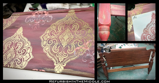 collage of 3 pics of headboard in chalk paint process