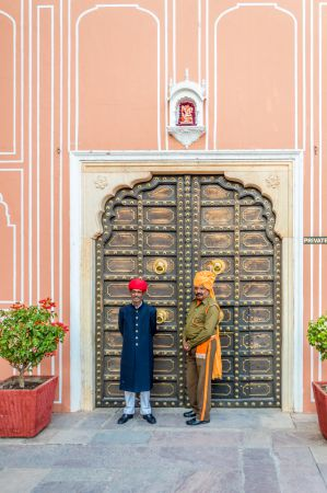 Guards at the entrance of the Chandra Mahal Jaipur - The private Palaces of Royal Family