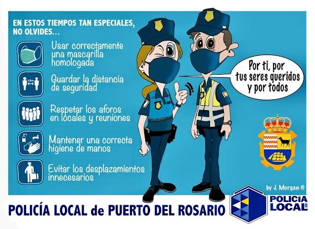 Fuerteventura.- La Policía Local de Puerto del Rosario vela por el cumplimiento de las normas sanitarias desde la declaración del Estado de Alarma