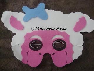 máscara de oveja en foami