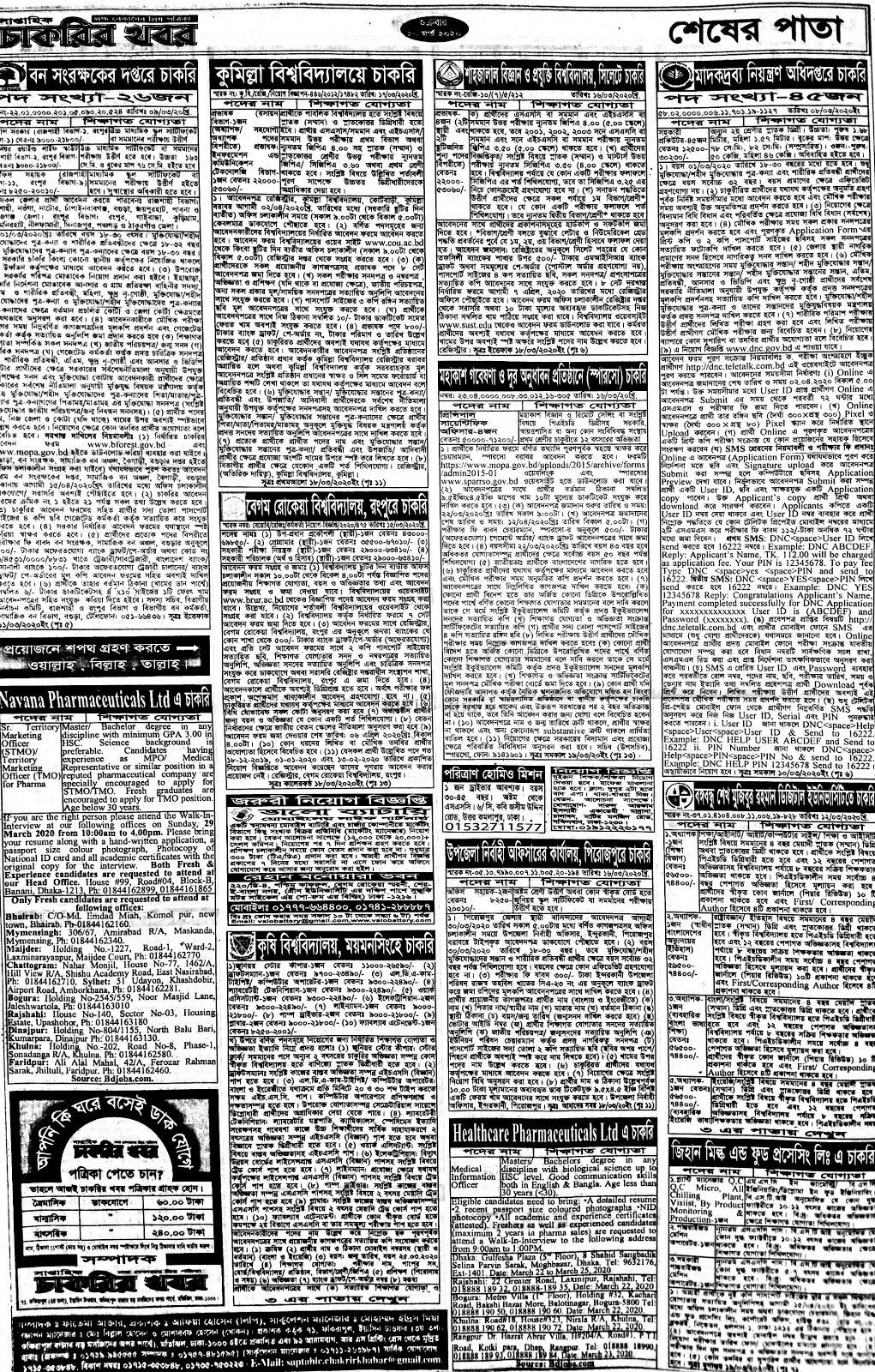 সাপ্তাহিক চাকরির খবর পত্রিকা ০৩ এপ্রিল ২০২০ pdf Download