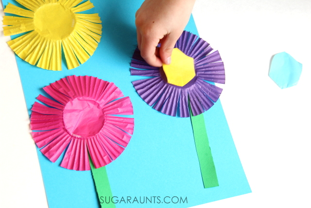 Flower Scissor Skills Craft   The OT Toolbox Cupcake liner flower craft
