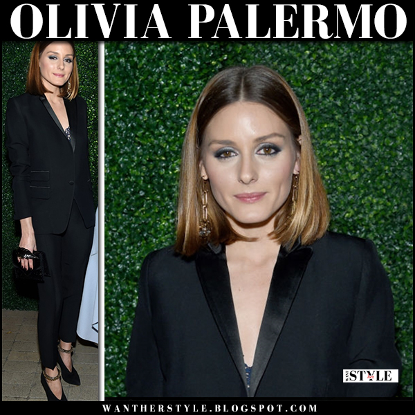 Olivia Palermo in black tuxedo jacket, black pants la perla and black ankle strap booties jimmy choo red carpet event fashion february 6