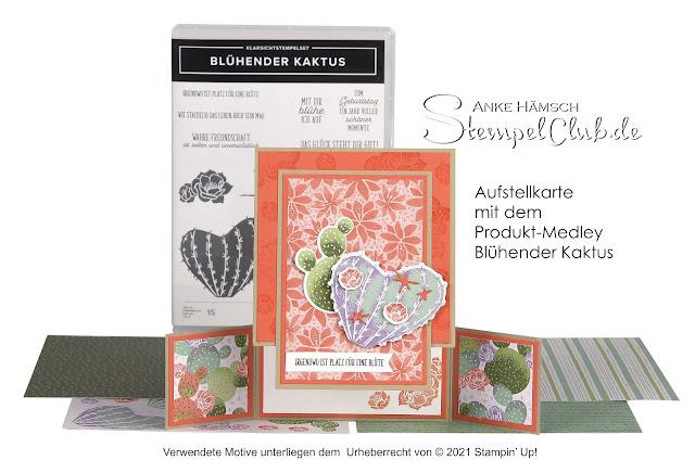 Karte zum Aufstellen in den Farben savanne, calypso und weiss mit Designerpapier und Kaktus