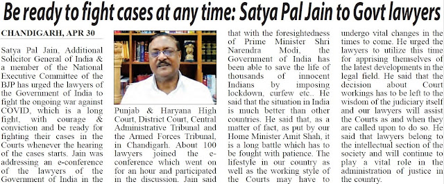 Be ready to fight cases at any time: Satya Pal Jain to Govt lawyers